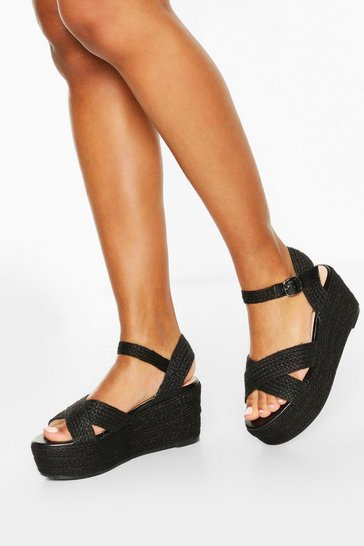 Black Raffia Cross Strap Wedges