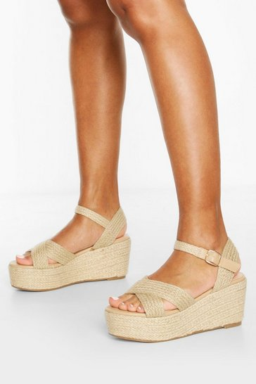 Natural Raffia Cross Strap Wedges