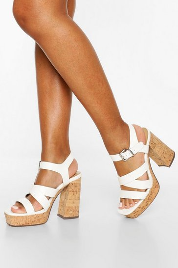 White Multi Strap Block Heel Platforms