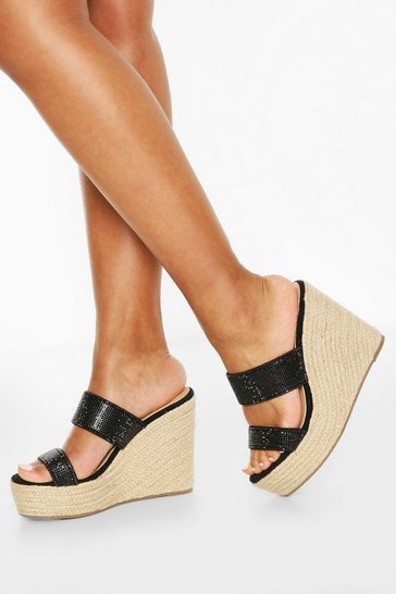 Black Diamante Double Strap Wedges
