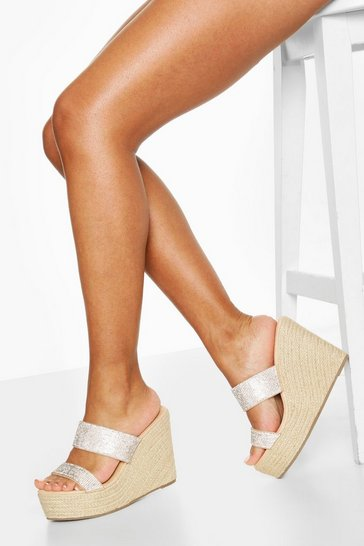 Nude Diamante Double Strap Wedges