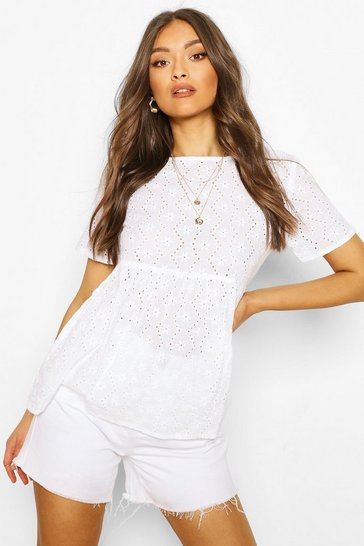 White Broderie Smock Top