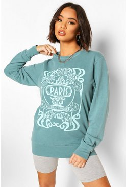 Blue Overdyed Sweat With Paris Print