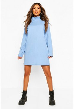 Bright blue Ruched Neck T-shirt Dress