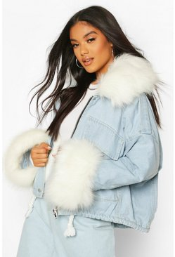 Blue Faux Fur Collar & Cuff Oversized Denim Jacket