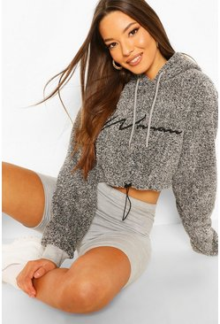 Kurzes Hoodie aus Fleece mit Woman-Stickerei, Anthrazit