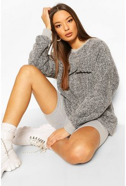 Charcoal Woman Embroidered Fleece Oversized Sweat