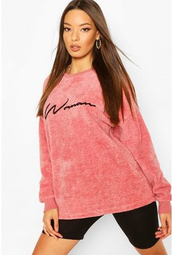Pink Woman Embroidered Fleece Oversized Sweat