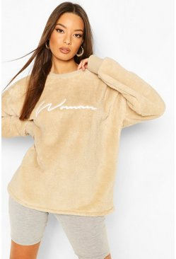 Sand Woman Embroidered Fleece Oversized Sweat