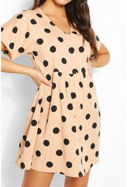 Stone Large Scale Spot Button Through Smock Dress