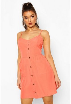 Coral Button Front Pocket Skater Dress