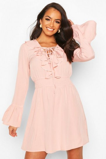 Rose Lace Up Detail Skater Dress