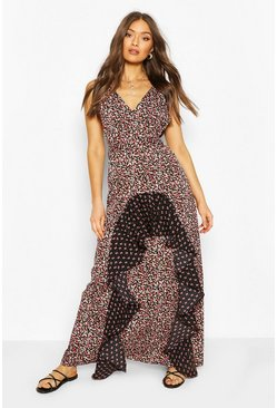 Black Woven Plunge Mixed Print Maxi Dress