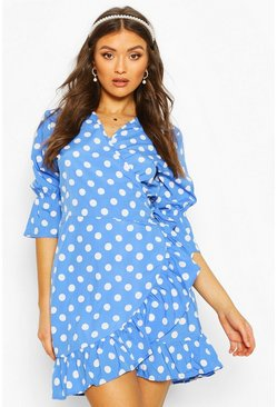 Cobalt Woven Spot Print Tie Side Tea Dress