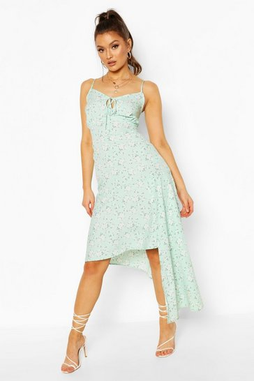 Mint Woven Floral Tie Front Asymetric Midi Dress