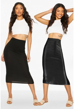 Black 2 Pack Wet Look & Jersey Midaxi Skirt