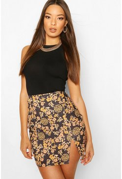 Black Oriental Print Side Split Mini Skirt