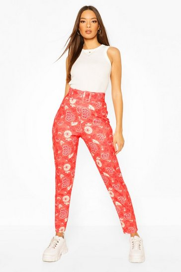 Red Oriental Floral Belted Skinny Trouser