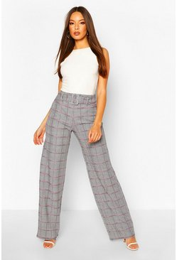 Black Pastel Pink Dogtooth Belted Wide Leg Trousers