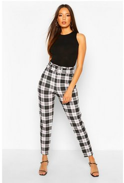 Black Checked Belted Skinny Trouser