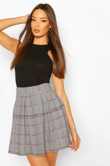 Black Pastel Pink Dogtooth Box Pleat Skater Skirt