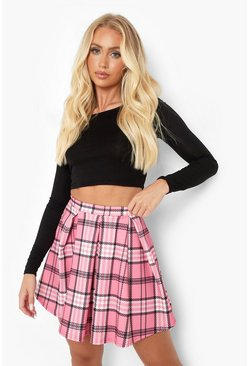 Pink Check Box Pleat Skater Skirt