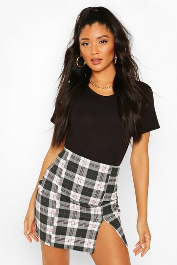 Black Split Front Checked Mini Skirt