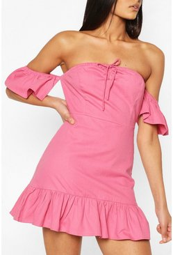 Rose pink Tie Detail Bardot Frill Denim Dress