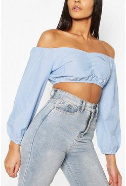 Blue Gathered Front Balloon Sleeve Denim Crop Top