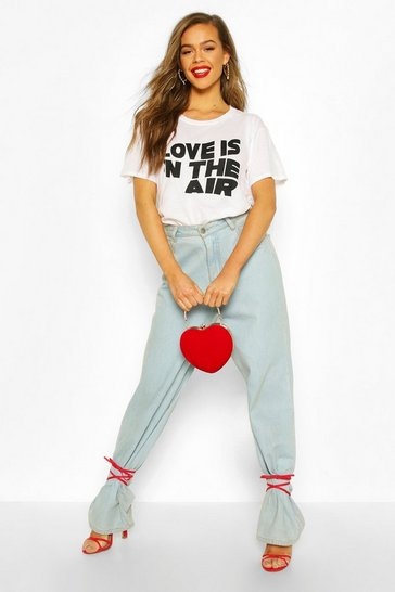 White Love Is In The Air Slogan T-Shirt