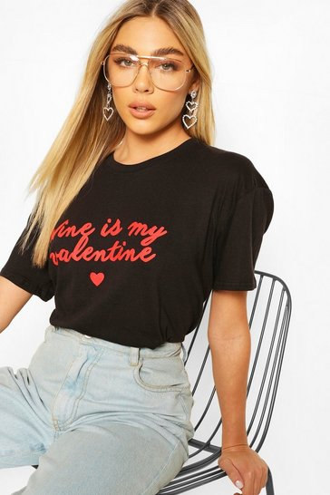 Black Wine Valentine Slogan T-Shirt