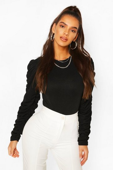 Black Ruched Sleeve Bodysuit