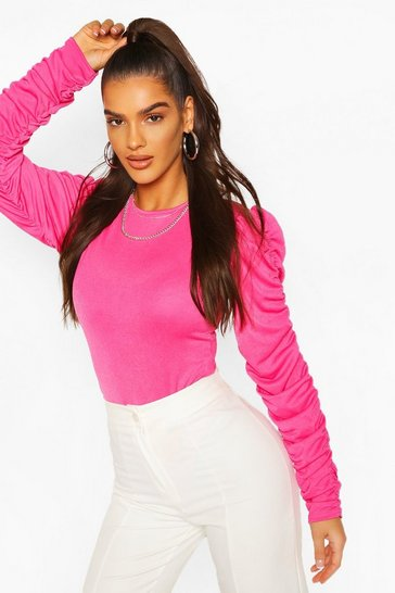 Hot pink Ruched Sleeve Bodysuit