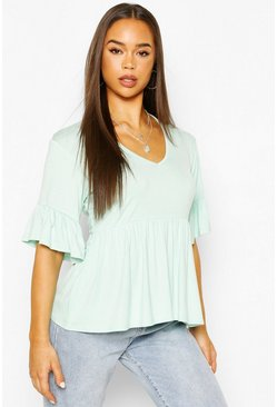 Mint V Neck Frill Sleeve Smock Top