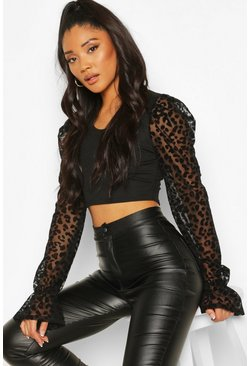 Black Leopard Flocked Ribbed Crop Top