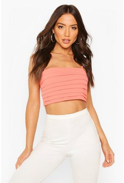 Coral Pleated Square Neck Strappy Crop Top