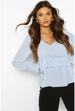 Baby blue Woven Ruffle Retail Smock Top