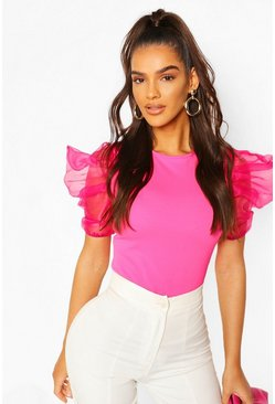 Pink Organza Sleeve Top