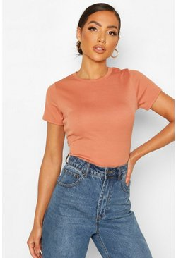 Tan Rib Cap Sleeve T-Shirt