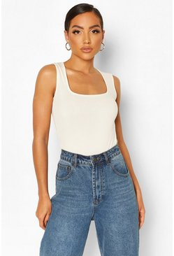Ecru Rib Scoop Neck Bodysuit