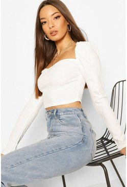 Ivory Crepe Sweetheart Long Sleeve Top