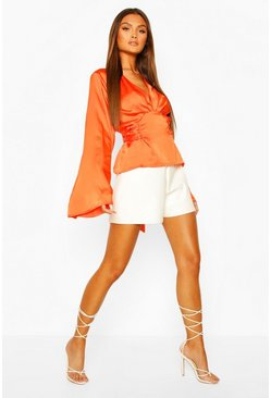 Orange Satin Tie Waist Flare Sleeve Blouse