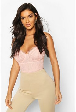 Blush Eyelash Lace Ruffle Detail Bodysuit