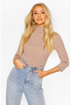 Camel Striped Turtle Neck Rib Top With 3/4 Sleeves