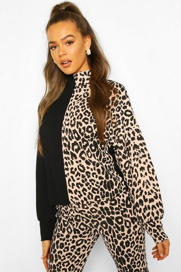 Nude Turtle Neck Top In Colour Block Leopard Mix