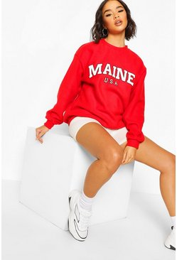 Teddy Fleece Oversized Maine Slogan Sweat, Red