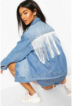 Mid blue Bride To Be Embroidery Tassel Denim Jacket