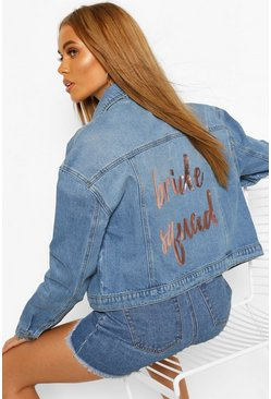 Mid blue Bride's Squad Slogan Denim Jacket