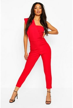 One Shoulder Skinny Leg Jumpsuit, Red