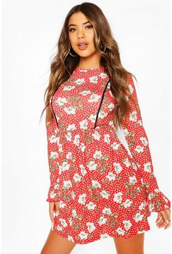 Red Floral Print Smock Dress With Lace Insert